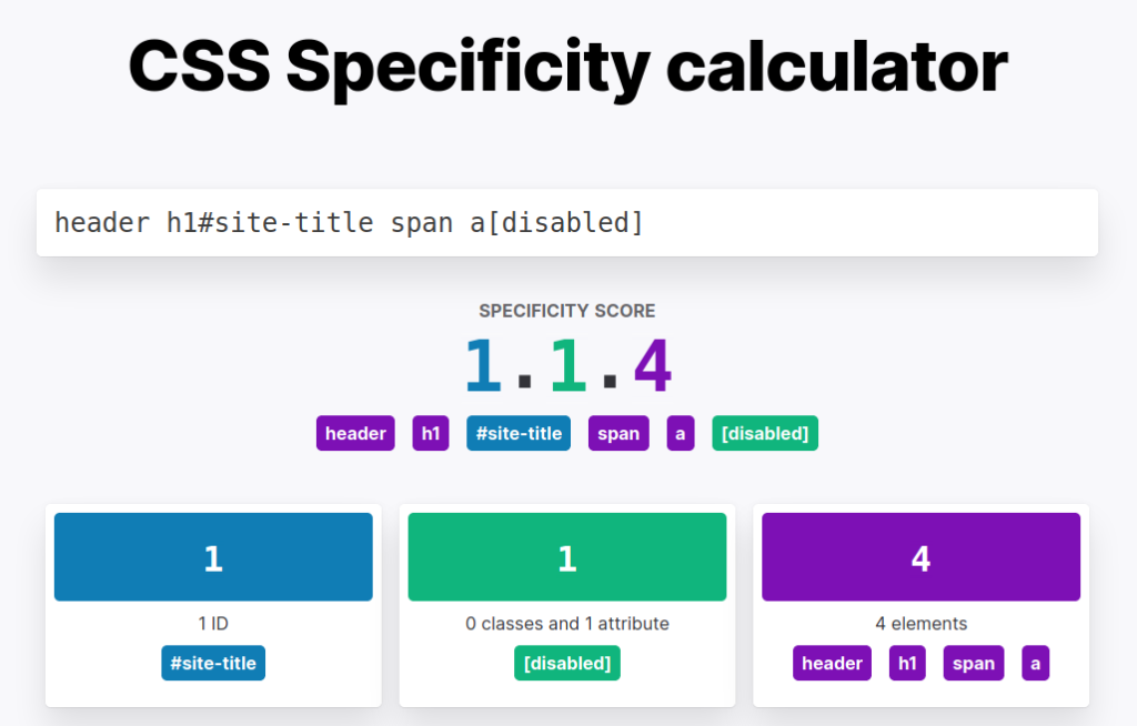 screenshot of the CSS specificity calculator