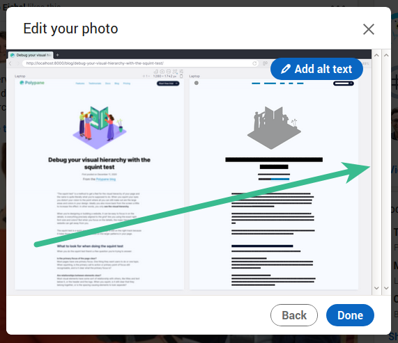 LinkedIn Post Creator Image overview showing two disabled scroll bars