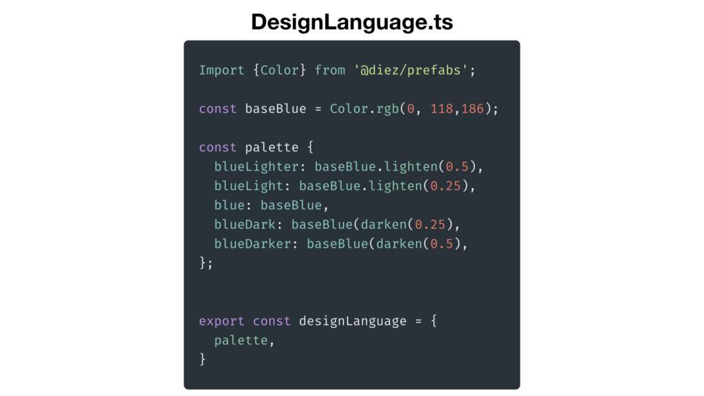 generated Diez DesignLanguage.ts file